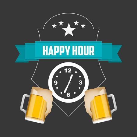 happy hour design, vector illustration graphic Illustration