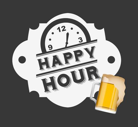 happy hour design, vector illustration graphic Vettoriali