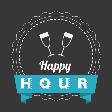 hour glass: happy hour design, vector illustration graphic Illustration