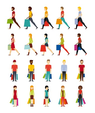people shopping design, vector illustration
