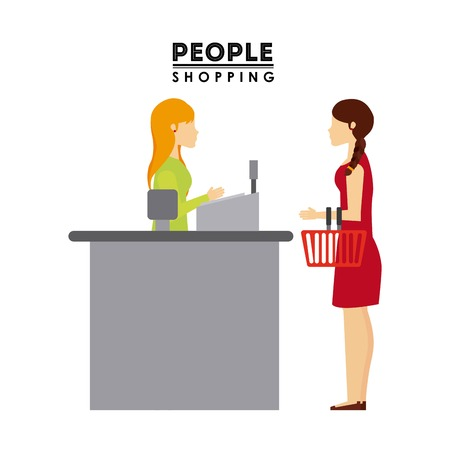 supermarket shopper: people shopping design, vector illustration
