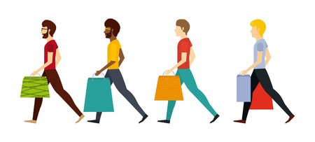 shoppers: people shopping design, vector illustration