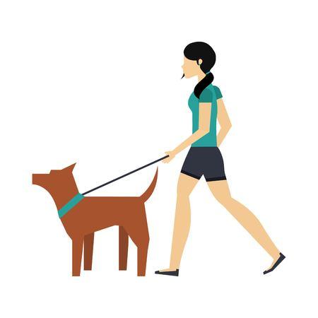 walking the dog design, vector illustration