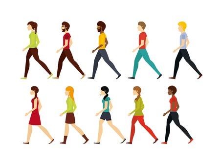 人々 は歩行デザイン、ベクトル イラスト