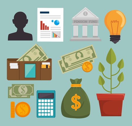 grow money: Bank, money and investment graphic design, vector illustration