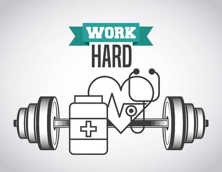 heart hard work: work hard design, vector illustration eps10 graphic Illustration