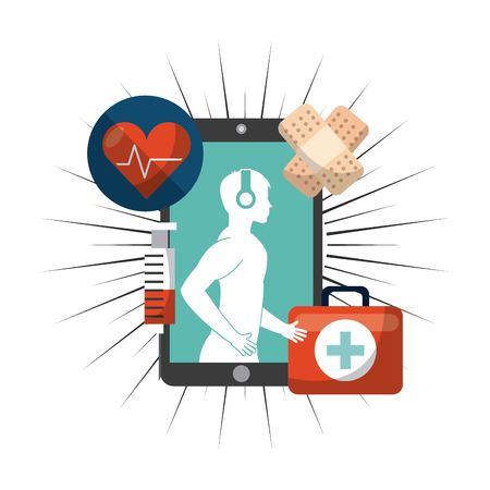 medical heart: wearable technology design, vector illustration eps10 graphic