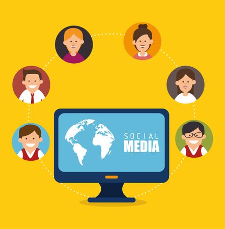 socializando: Los medios sociales y el dise�o gr�fico de red, ilustraci�n vectorial eps10