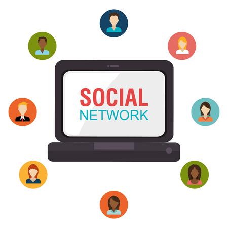 socializando: Los medios sociales y el diseño gráfico de red, ilustración vectorial eps10