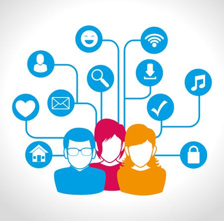 electronic organizer: Social network and media graphic design, vector illustration eps10 Illustration