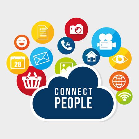 socializando: Red social y el diseño gráfico multimedia, ilustración vectorial eps10 Vectores