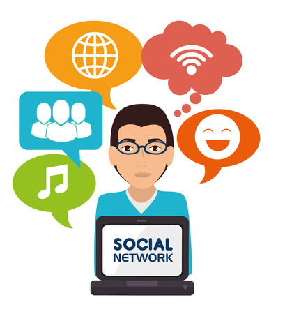 socializando: Social network and media graphic design, vector illustration eps10 Vectores