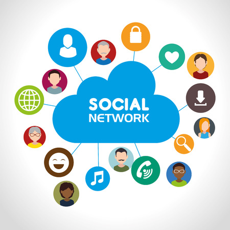 socializando: Social network and media graphic design, vector illustration eps10 Vectores