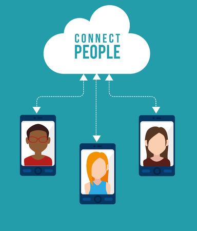 socializando: Red social y el dise�o gr�fico multimedia, ilustraci�n vectorial eps10 Vectores