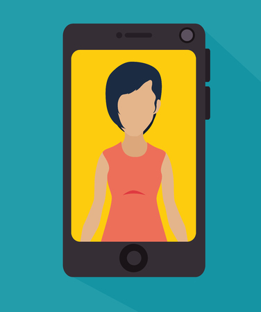 woman cellphone: Mobile smartphone technology, vector illustration graphic design Illustration
