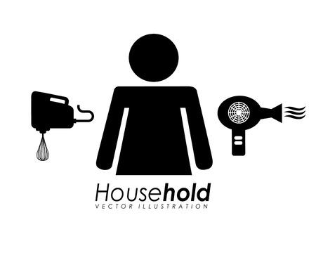 secador de pelo: asimiento de casa de diseño, ilustración vectorial gráfico eps10