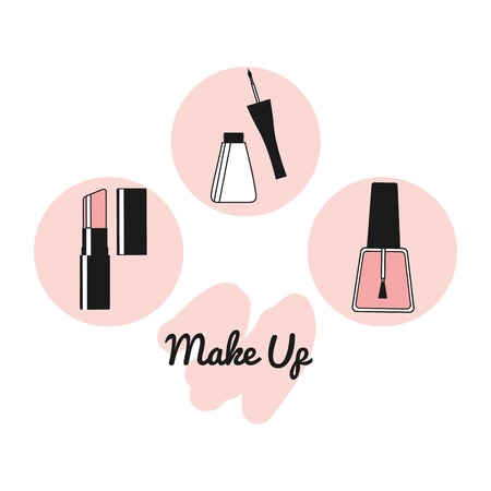 beauty products: fashion make up design, vector illustration eps10 graphic Illustration