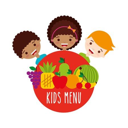 Kindermenu ontwerp, vector illustratie eps10 grafisch