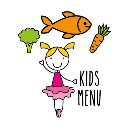 children eating: kids menu design, vector illustration