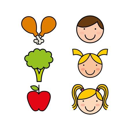 childrens food: kids menu design, vector illustration