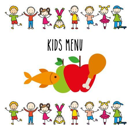 kids menu design, vector illustration