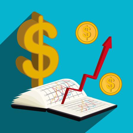 stock broker: Stock market and economy graphic design, vector illustration