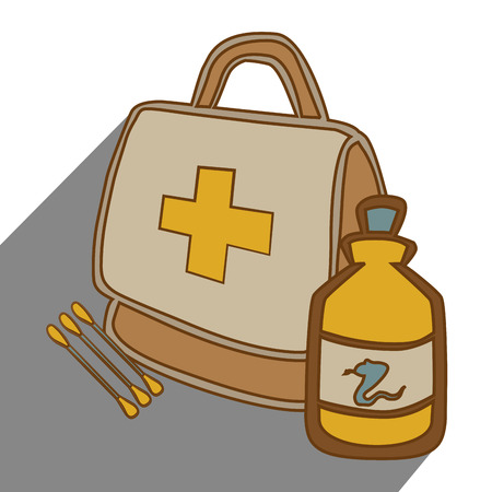 a snake in a bag: Medical healthcare graphic design, vector illustration eps10 Illustration