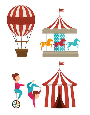 Circo carnaval de entretenimiento de diseño gráfico, ilustración vectorial