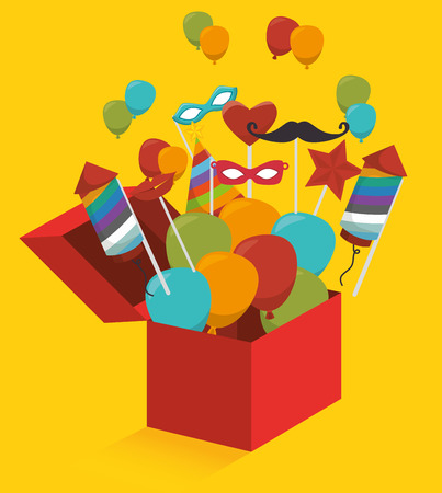 suprise: Gift box with fireworks and balloons graphic design, vector illustration
