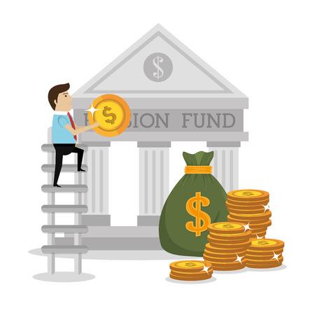 Geld pensioenfonds grafisch ontwerp, vector illustratie