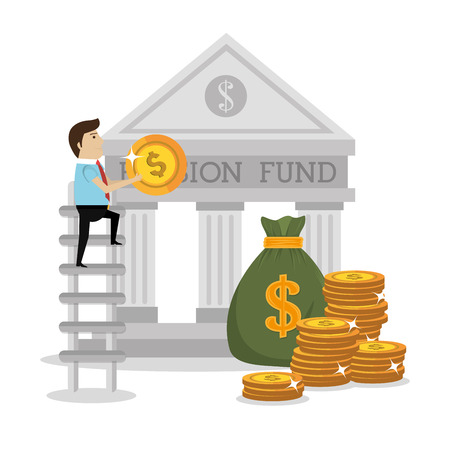Money pension fund graphic design, vector illustration