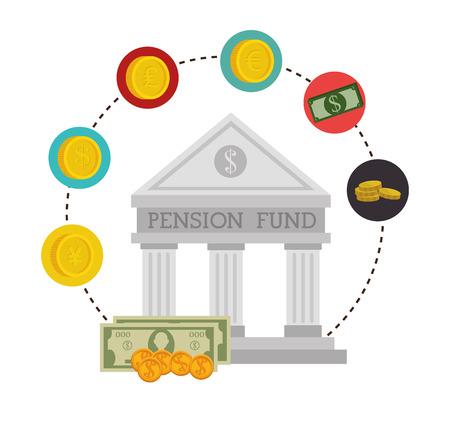 fund: Money pension fund graphic design, vector illustration