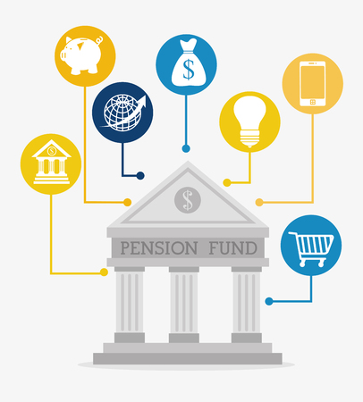 global retirement: Money pension fund graphic design, vector illustration