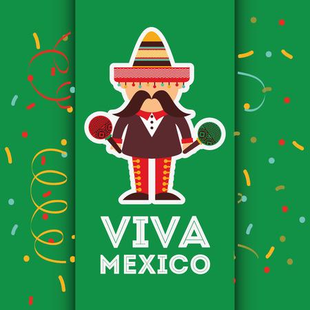 Viva Mexico disegno, illustrazione grafica vettoriale eps10 Vettoriali