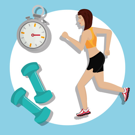 lady clock: Gym and fitness lifestyle graphic design, vector illustration eps10 Illustration