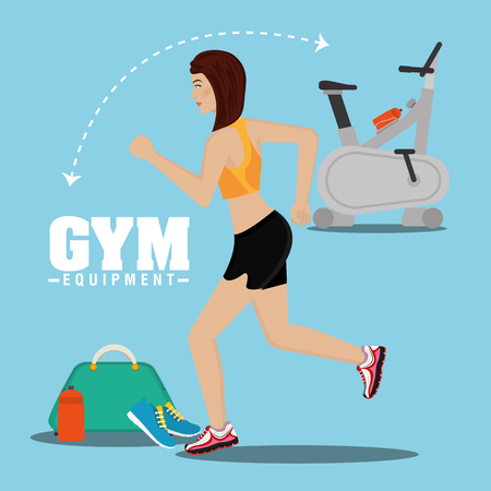 Gym and fitness lifestyle graphic design, vector illustration eps10 Çizim