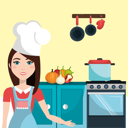 mujeres cocinando: Kitchen and cooking graphic design, vector illustration  Vectores