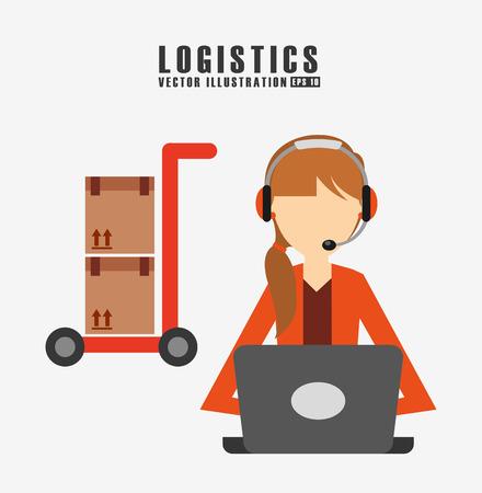 logística de envío de mercancías de diseño, ejemplo gráfico del vector eps10