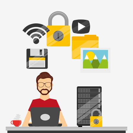 web security: web hosting design, vector illustration eps10 graphic Illustration