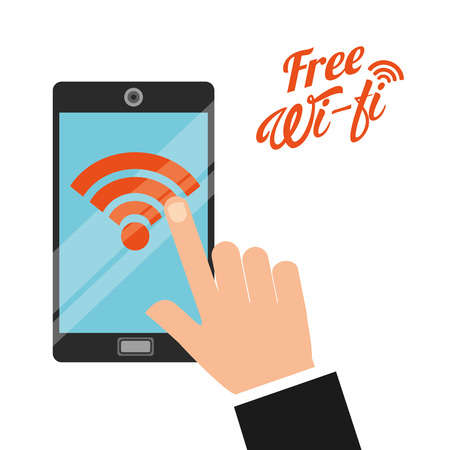 hand free: free wifi design, vector illustration eps10 graphic Illustration
