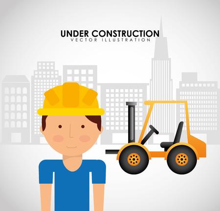 tractor warning sign: under construction design