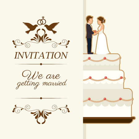 wedding: Wedding cute card design Illustration