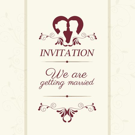 getting married: Wedding cute card design Illustration