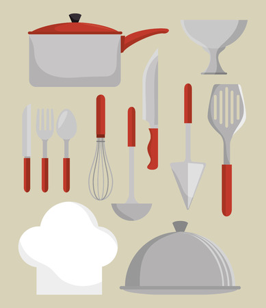 home cooking: Kitchen dishware utensils graphic design with icons