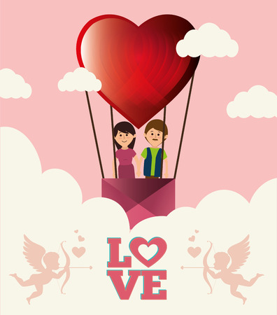 hot couple: Love and valentines day graphic design, vector illustration Illustration