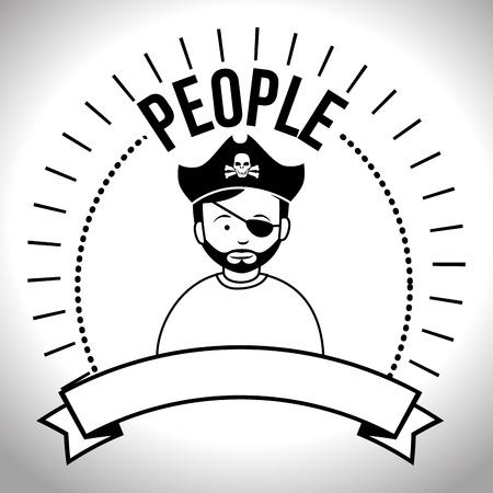 hapiness: People profile retro design, vector illustration graphic
