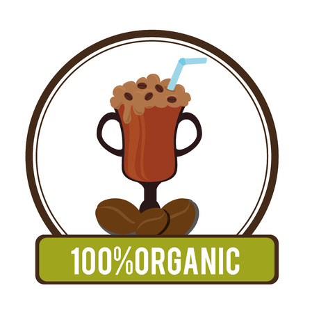 nutriments: Delicious natural and organic coffee graphic design, vector illustration Illustration