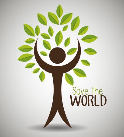 Red de wereld en ecologie grafisch ontwerp thema, vector illustratie