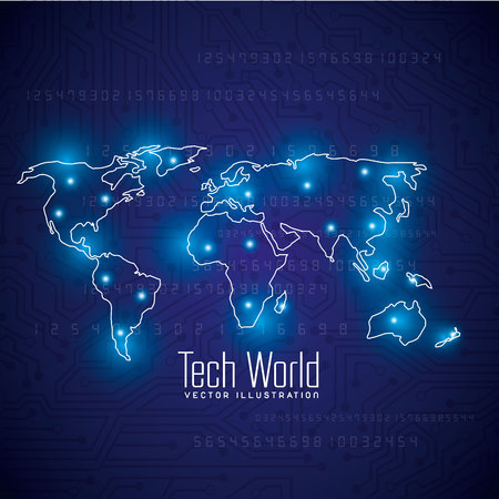 earth from space: tech world design, vector illustration eps10 graphic