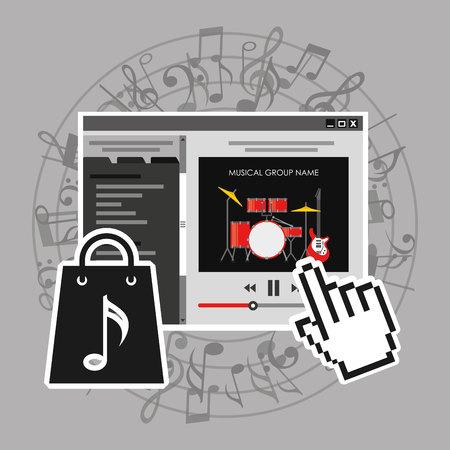 e guitar: online music design, vector illustration eps10 graphic Illustration